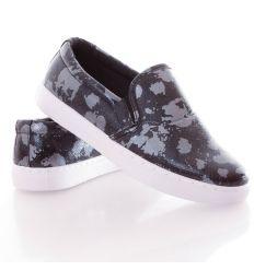 Ezüst, fényes mintás műbőr női slip-on cipő (88-503)