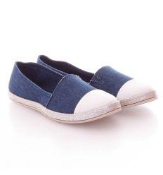 Fehér orrú, farmeres belebújós női vászon cipő (JX19)