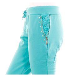 Csipkebetétes, függőleges zsebes csőszárú női melegítő nadrág (J-9566)