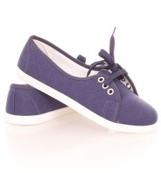 Steppelt, 3 fűzős egyszínű női vászon cipő (AS901)