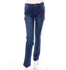 Egyenes szárú, magasabb derekú, köves zsebes női farmer nadrág (FA607)