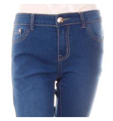 Csőszárú, zsebénél bőrbetétes, egyszínű rugalmas női farmer nadrág (DM2803)