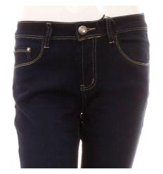 Egyenes szárú, hímzett fém bilétás zsebű, női csípő farmer nadrág (FA601)