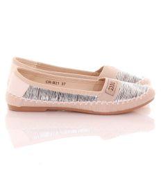 Orrán, oldalán ezüst csíkos, körben fonott betétes balerina cipő (CR-B21)