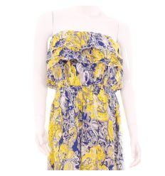 Mellnél fodros, derekán gumis mintás hosszú női lenge pamut ruha (B-7333)