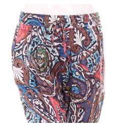 Laza, bő fazonú pamut női absztrakt mintás nadrág (B-7309)