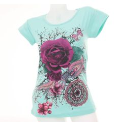 Nagy rózsás, ágas női pamut hosszított felső póló