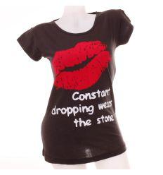 Csókos, feliratos női pamut felső póló