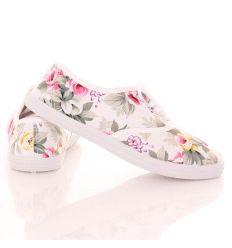 Virágos, 4 fűzős női vászon tornacipő (5530)