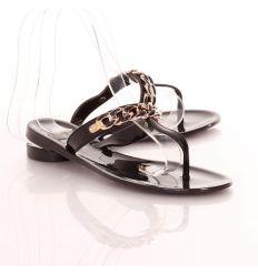 Keresztpántos, láncos, lábujjközös női gumipapucs (L51581)