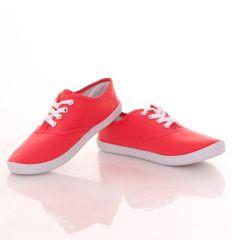 Egyszínű, fűzős női vászon tornacipő (A217)