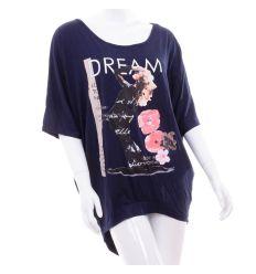 Dream mintás, laza, denevérujjú, hosszított női felső (FM-16091)