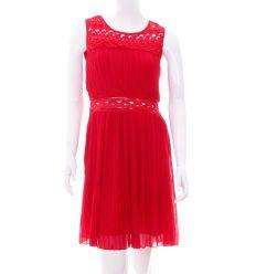 Gyöngyös, hímzett derekú és vállú, rakott stílusú női ruha (Q873)