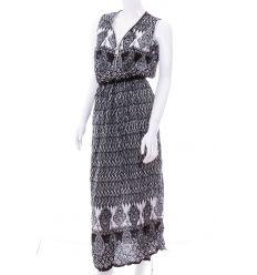 Nyakánál cipzáros, virégos, deltoid mintás női maxi ruha (NK25133)