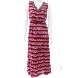 Nyakánál köves, gyöngyös, háromszög mintás női maxi ruha (NK25316)