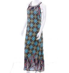 Nyakánál köves, vegyes mintás, vállpántos női maxi ruha (NK25314)