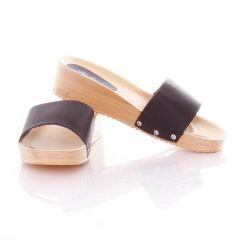 Egyszínű, vastag pántos, emelt sarkú női gumi papucs (L61606,L61607,L61608)