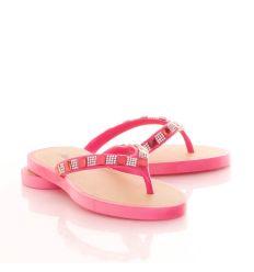 Strasszköves, lábujjközös, vastag talpú női gumi papucs (T84)
