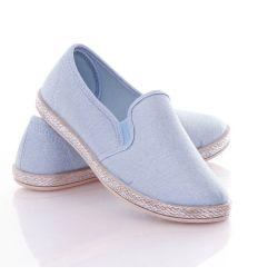 Ezüst szálas, oldalán fonott hatású, belebújós női vászon slip-on cipő (JX16)