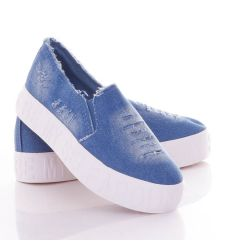 Farmeres, vastag talpú, szaggatott, koptatott női vászon cipő (JN-25)