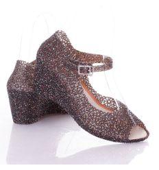 Nyitott orrú, éksarkú, női gumiszandál cipő