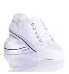 Fűzős tornacipő kamasz, női fehér