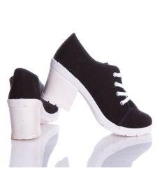Vastag magassarkú, fűzős vászon női cipő (0015-71)