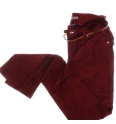Egyszínű, csőszárú, rugalmas női nadrág övvel (IM1607)