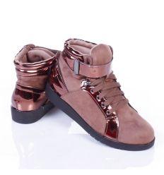 Emelt sarkú, velúr/lakk, fűzős magasszárú női cipő (WXY7565)