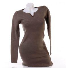 Arany V-nyakú, puha, rugalmas, női tunika, miniruha (CV749)