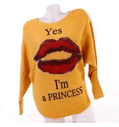 Kiss-es, strasszköves női denevérujjú pulóver, felső (H-219)