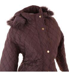 Női steppelt moletti félhoszzú kapucnis kabát (Z912)
