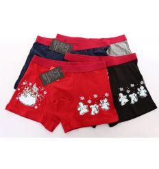 Férfi karácsonyi mintás pamut boxer 3 hóemberes (FR7602)