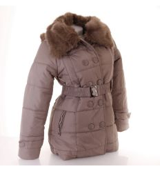 Női dupla gombsoros bundás prémgalléros kapucnis kabát (E-610)