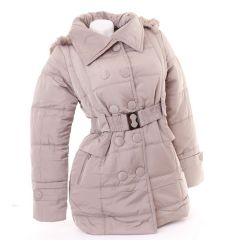 Bélelt karcsúsított dupla gombsoros női kabát (507-2)
